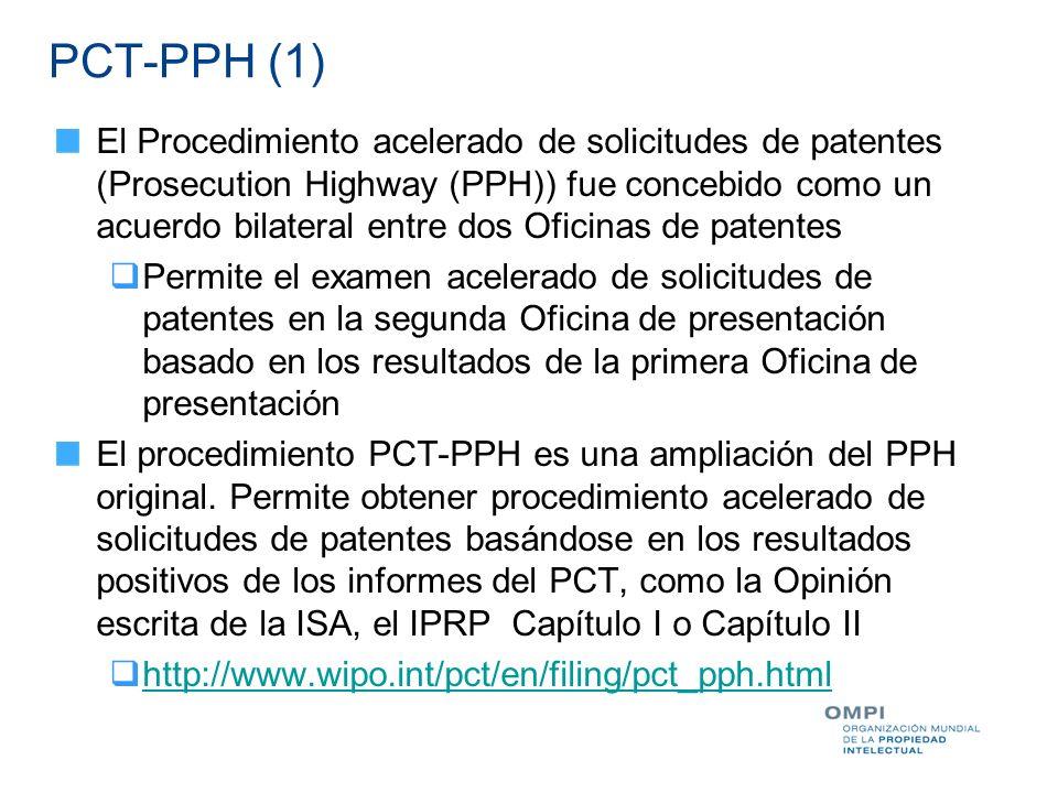 PCT-PPH (1) El Procedimiento acelerado de solicitudes de patentes (Prosecution Highway (PPH)) fue concebido como un acuerdo bilateral entre dos Oficin