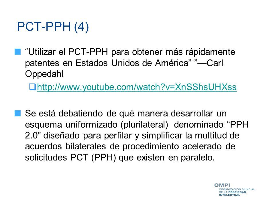 PCT-PPH (4) Utilizar el PCT-PPH para obtener más rápidamente patentes en Estados Unidos de América Carl Oppedahl http://www.youtube.com/watch?v=XnSShs