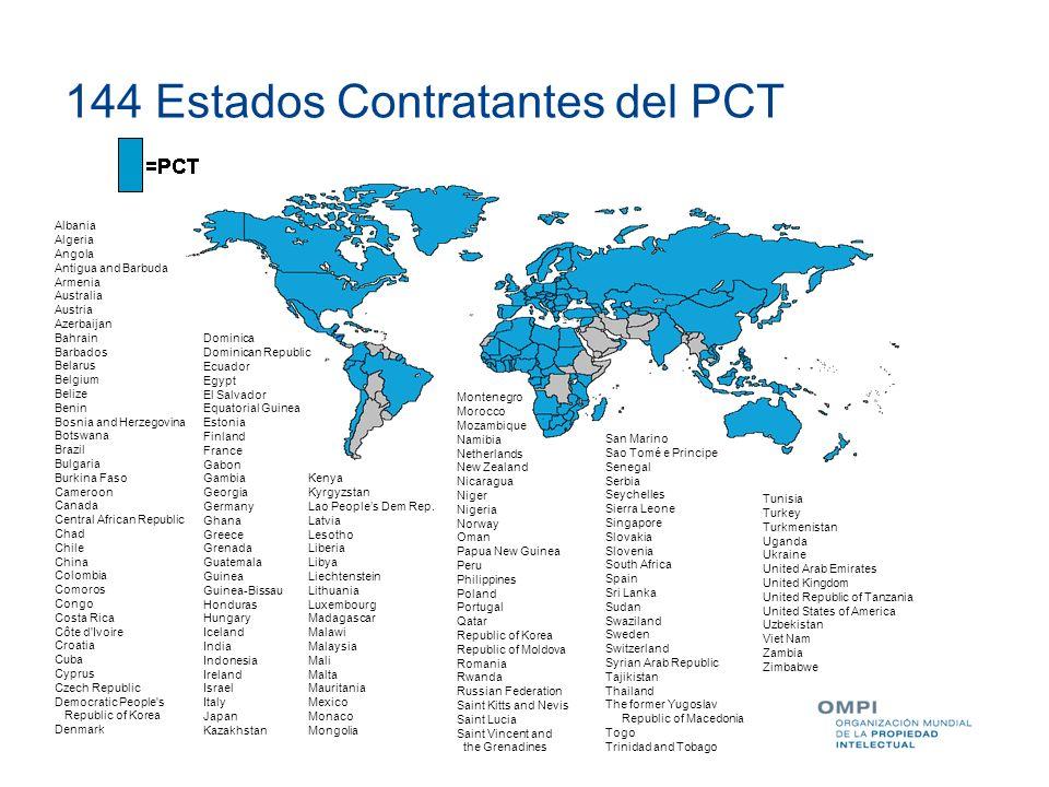 144 Estados Contratantes del PCT Albania Algeria Angola Antigua and Barbuda Armenia Australia Austria Azerbaijan Bahrain Barbados Belarus Belgium Beli