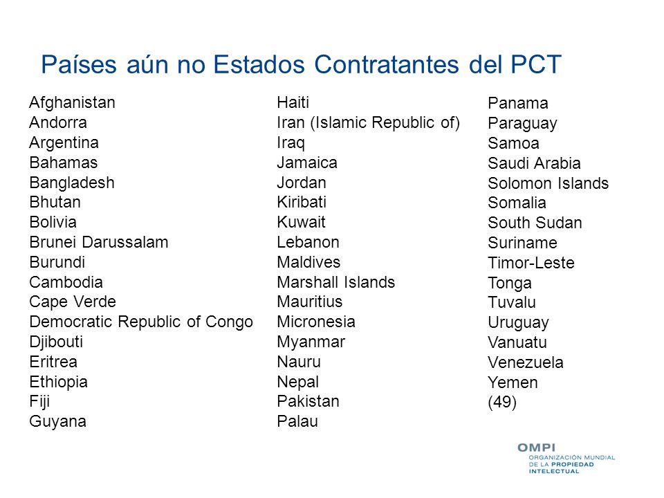 Países aún no Estados Contratantes del PCT Afghanistan Andorra Argentina Bahamas Bangladesh Bhutan Bolivia Brunei Darussalam Burundi Cambodia Cape Ver
