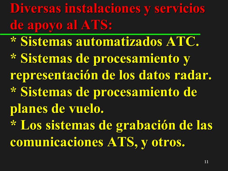 11 Diversas instalaciones y servicios de apoyo al ATS: * Sistemas automatizados ATC. * Sistemas de procesamiento y representación de los datos radar.