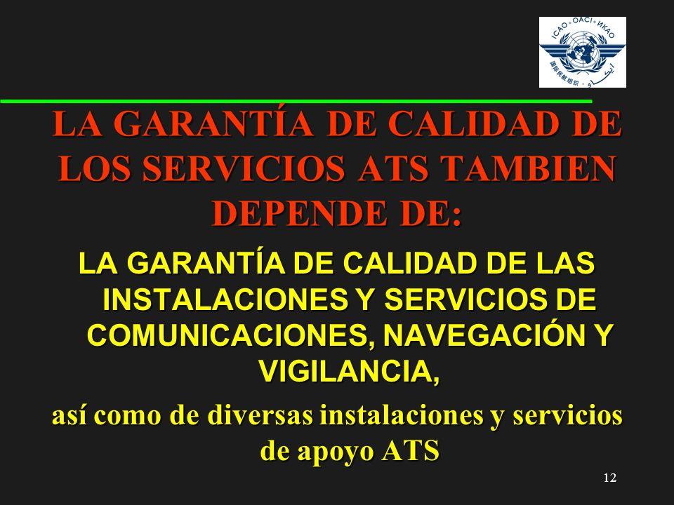 12 LA GARANTÍA DE CALIDAD DE LAS INSTALACIONES Y SERVICIOS DE COMUNICACIONES, NAVEGACIÓN Y VIGILANCIA, así como de diversas instalaciones y servicios