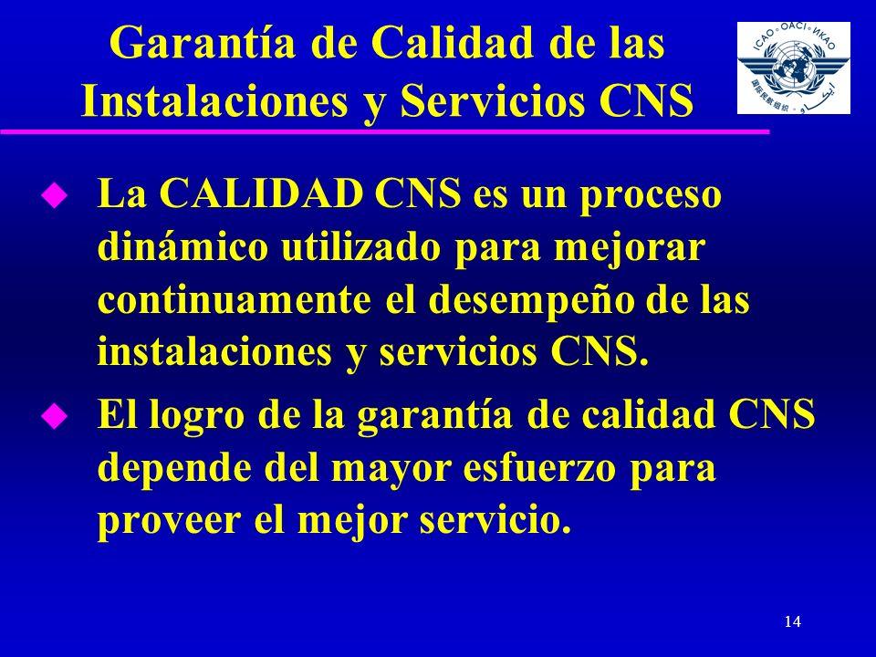 14 Garantía de Calidad de las Instalaciones y Servicios CNS u La CALIDAD CNS es un proceso dinámico utilizado para mejorar continuamente el desempeño