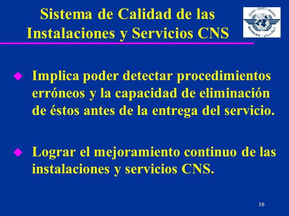 16 Sistema de Calidad de las Instalaciones y Servicios CNS u Implica poder detectar procedimientos erróneos y la capacidad de eliminación de éstos ant