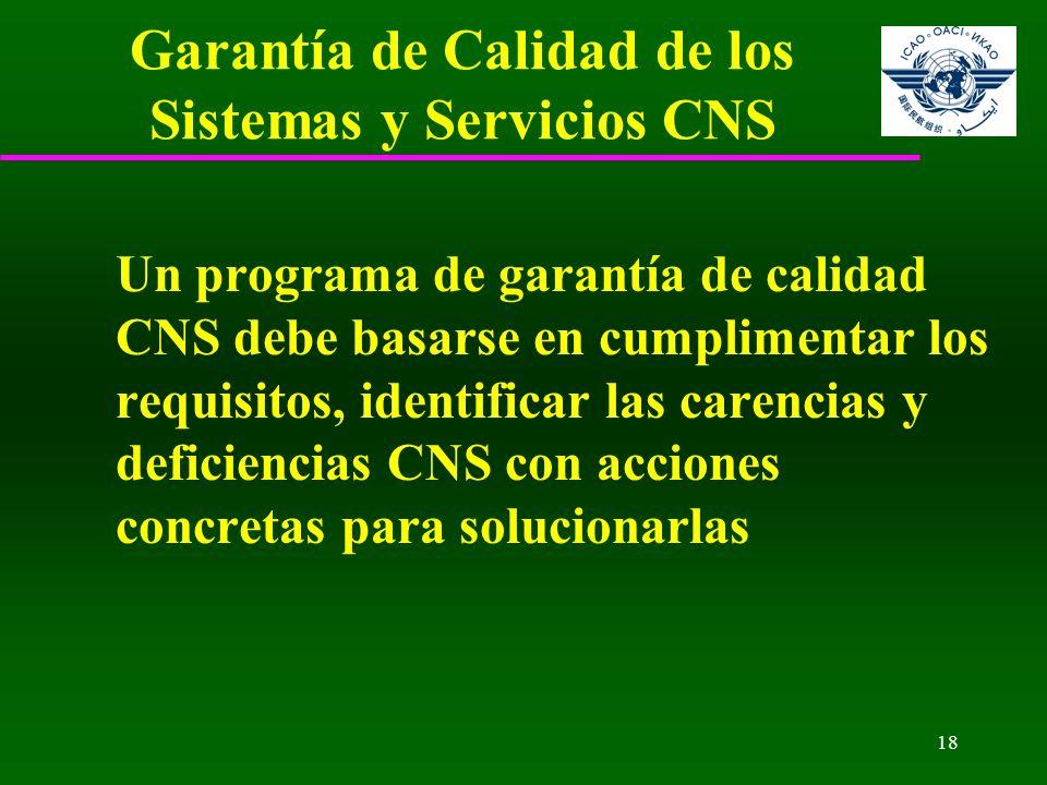 18 Garantía de Calidad de los Sistemas y Servicios CNS Un programa de garantía de calidad CNS debe basarse en cumplimentar los requisitos, identificar