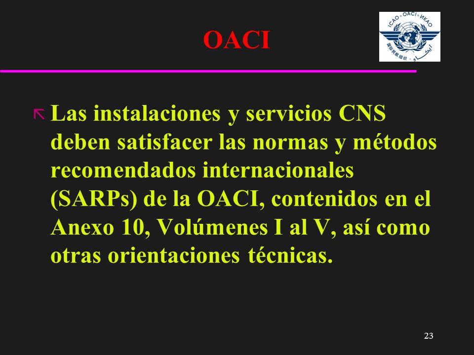 23 OACI ã Las instalaciones y servicios CNS deben satisfacer las normas y métodos recomendados internacionales (SARPs) de la OACI, contenidos en el An