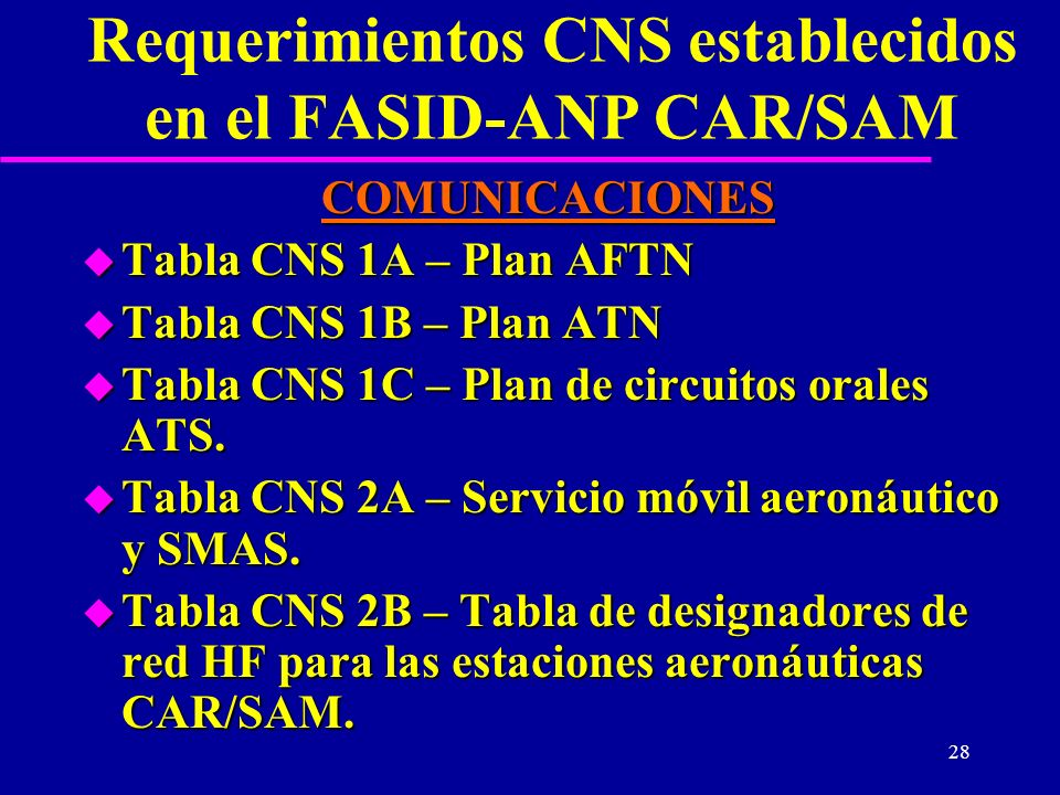 28 Requerimientos CNS establecidos en el FASID-ANP CAR/SAM COMUNICACIONES u Tabla CNS 1A – Plan AFTN u Tabla CNS 1B – Plan ATN u Tabla CNS 1C – Plan d