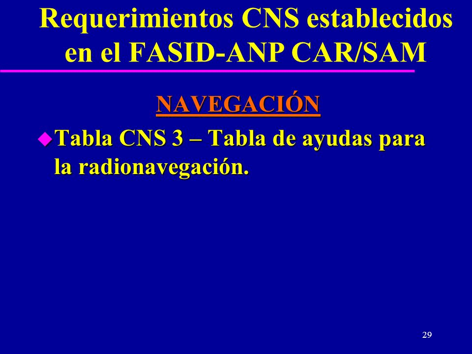 29 Requerimientos CNS establecidos en el FASID-ANP CAR/SAM NAVEGACIÓN u Tabla CNS 3 – Tabla de ayudas para la radionavegación.
