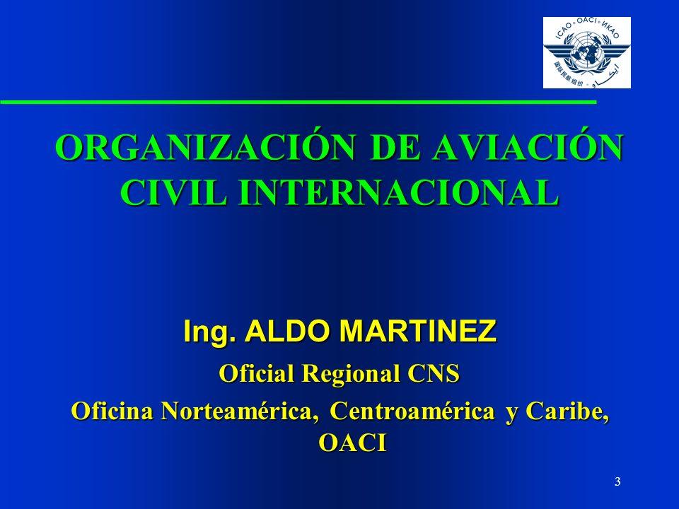 3 Ing. ALDO MARTINEZ Oficial Regional CNS Oficina Norteamérica, Centroamérica y Caribe, OACI ORGANIZACIÓN DE AVIACIÓN CIVIL INTERNACIONAL