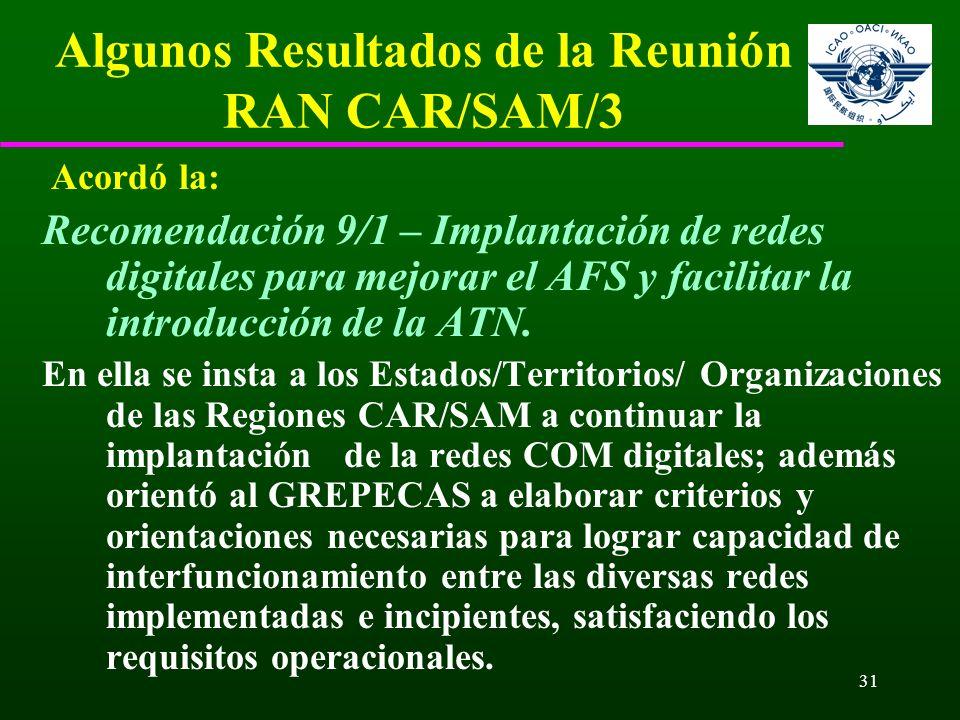 31 Algunos Resultados de la Reunión RAN CAR/SAM/3 Acordó la: Recomendación 9/1 – Implantación de redes digitales para mejorar el AFS y facilitar la in