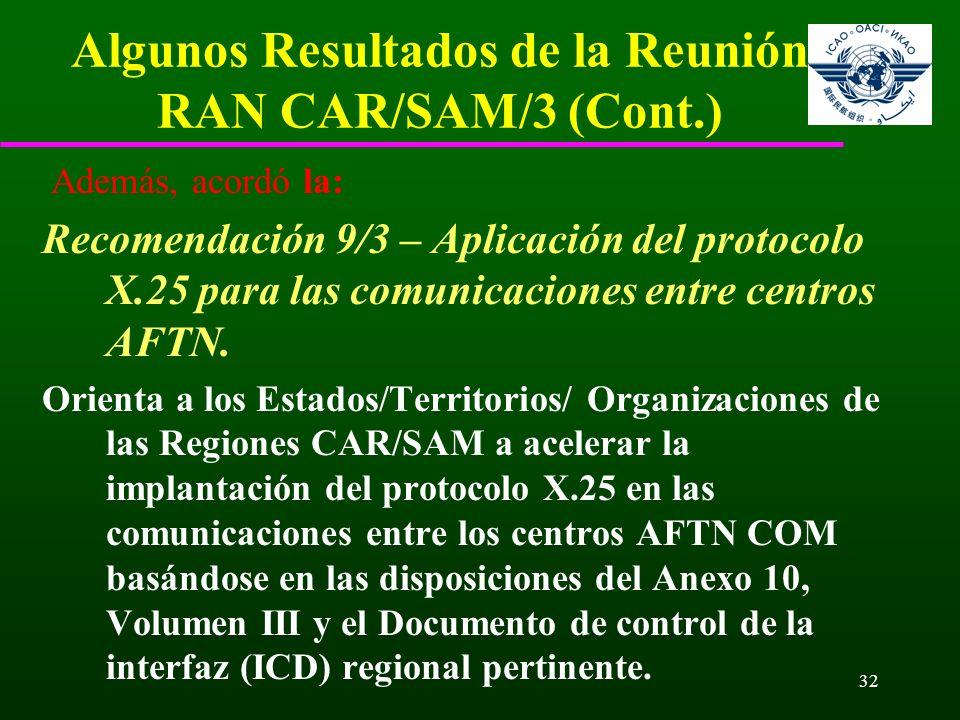32 Algunos Resultados de la Reunión RAN CAR/SAM/3 (Cont.) Además, acordó la: Recomendación 9/3 – Aplicación del protocolo X.25 para las comunicaciones