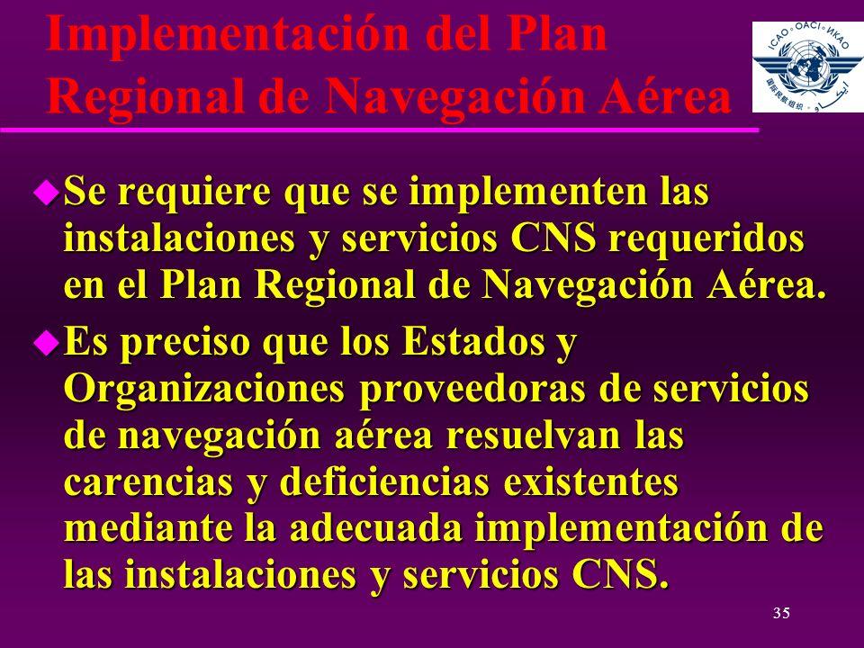 35 Implementación del Plan Regional de Navegación Aérea u Se requiere que se implementen las instalaciones y servicios CNS requeridos en el Plan Regio