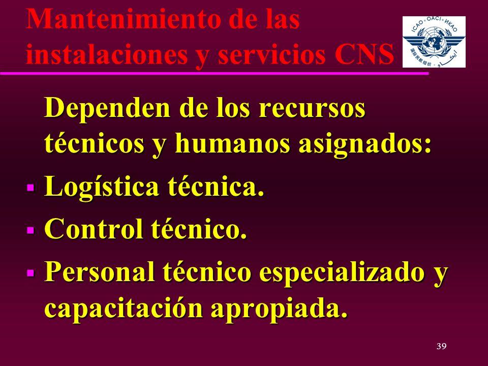 39 Mantenimiento de las instalaciones y servicios CNS Dependen de los recursos técnicos y humanos asignados: Dependen de los recursos técnicos y human