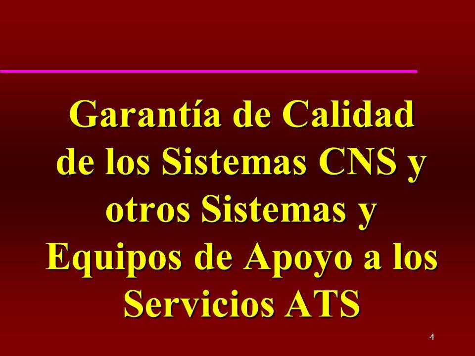 4 Garantía de Calidad de los Sistemas CNS y otros Sistemas y Equipos de Apoyo a los Servicios ATS