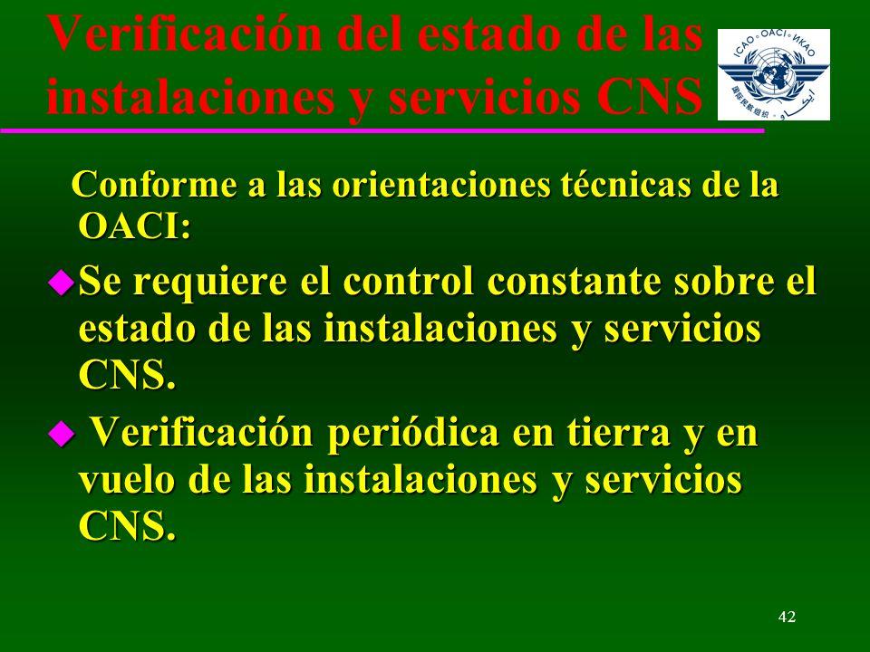 42 Verificación del estado de las instalaciones y servicios CNS Conforme a las orientaciones técnicas de la OACI: Conforme a las orientaciones técnica