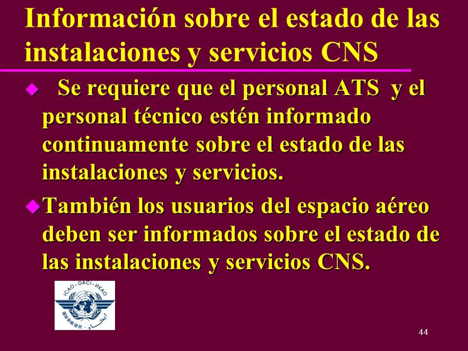 44 Información sobre el estado de las instalaciones y servicios CNS u Se requiere que el personal ATS y el personal técnico estén informado continuame