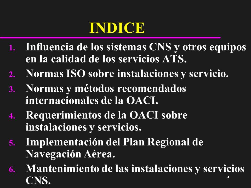 5 INDICE 1. Influencia de los sistemas CNS y otros equipos en la calidad de los servicios ATS. 2. Normas ISO sobre instalaciones y servicio. 3. Normas