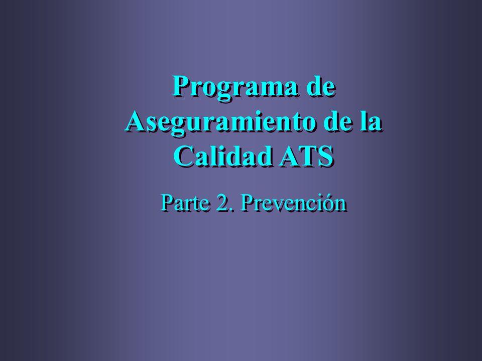 Programa de Aseguramiento de la Calidad ATS Parte 2. Prevención Programa de Aseguramiento de la Calidad ATS Parte 2. Prevención