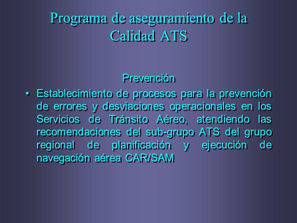 Prevención Establecimiento de procesos para la prevención de errores y desviaciones operacionales en los Servicios de Tránsito Aéreo, atendiendo las r