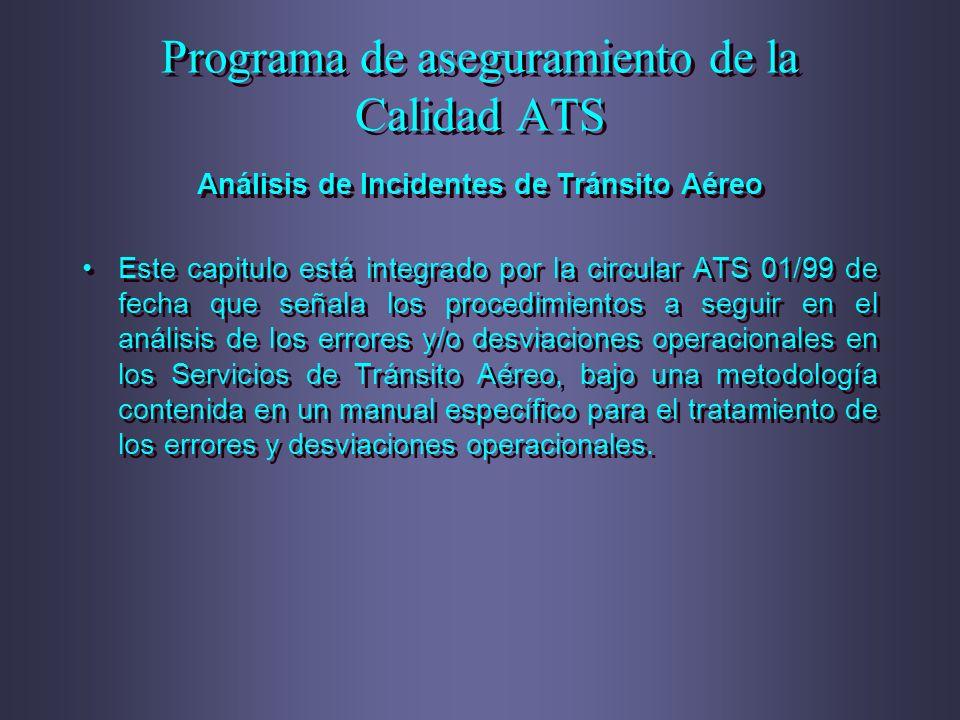 Programa de aseguramiento de la Calidad ATS Análisis de Incidentes de Tránsito Aéreo Este capitulo está integrado por la circular ATS 01/99 de fecha q