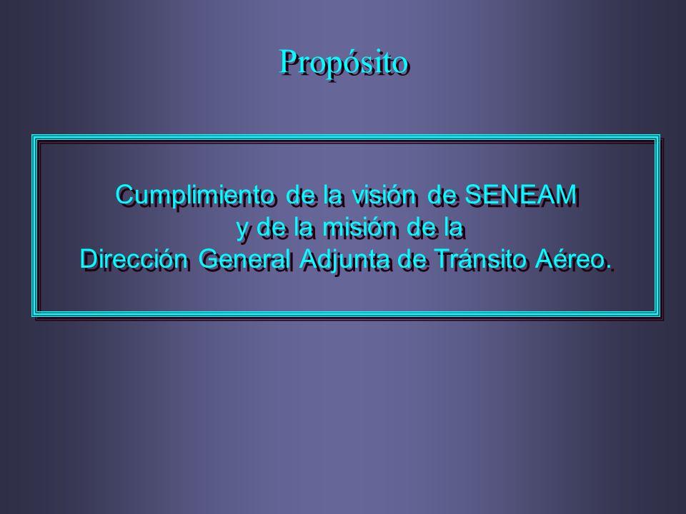 Propósito Cumplimiento de la visión de SENEAM y de la misión de la Dirección General Adjunta de Tránsito Aéreo. Cumplimiento de la visión de SENEAM y