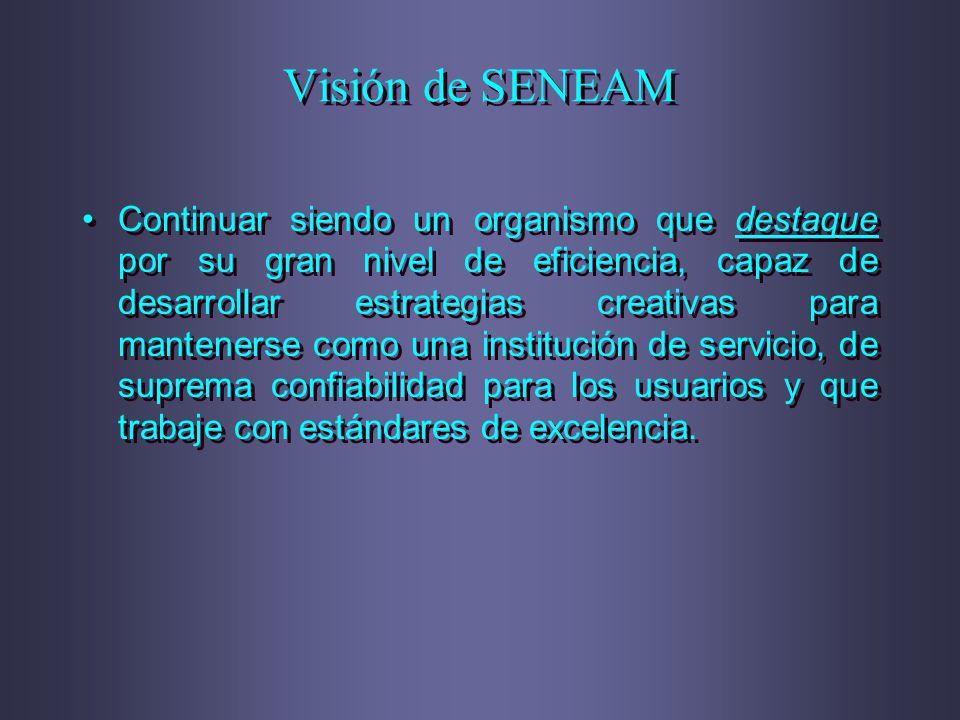 Visión de SENEAM Continuar siendo un organismo que destaque por su gran nivel de eficiencia, capaz de desarrollar estrategias creativas para manteners