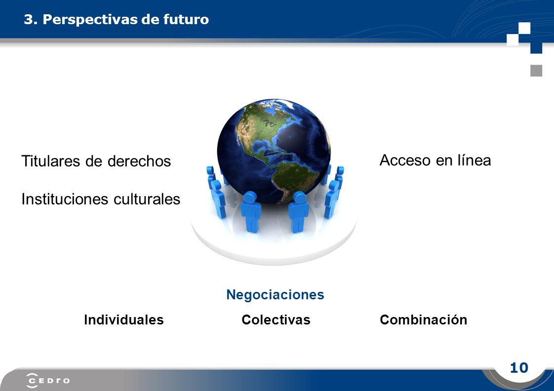 10 Acceso en línea 3. Perspectivas de futuro Titulares de derechos Instituciones culturales Negociaciones Individuales Colectivas Combinación