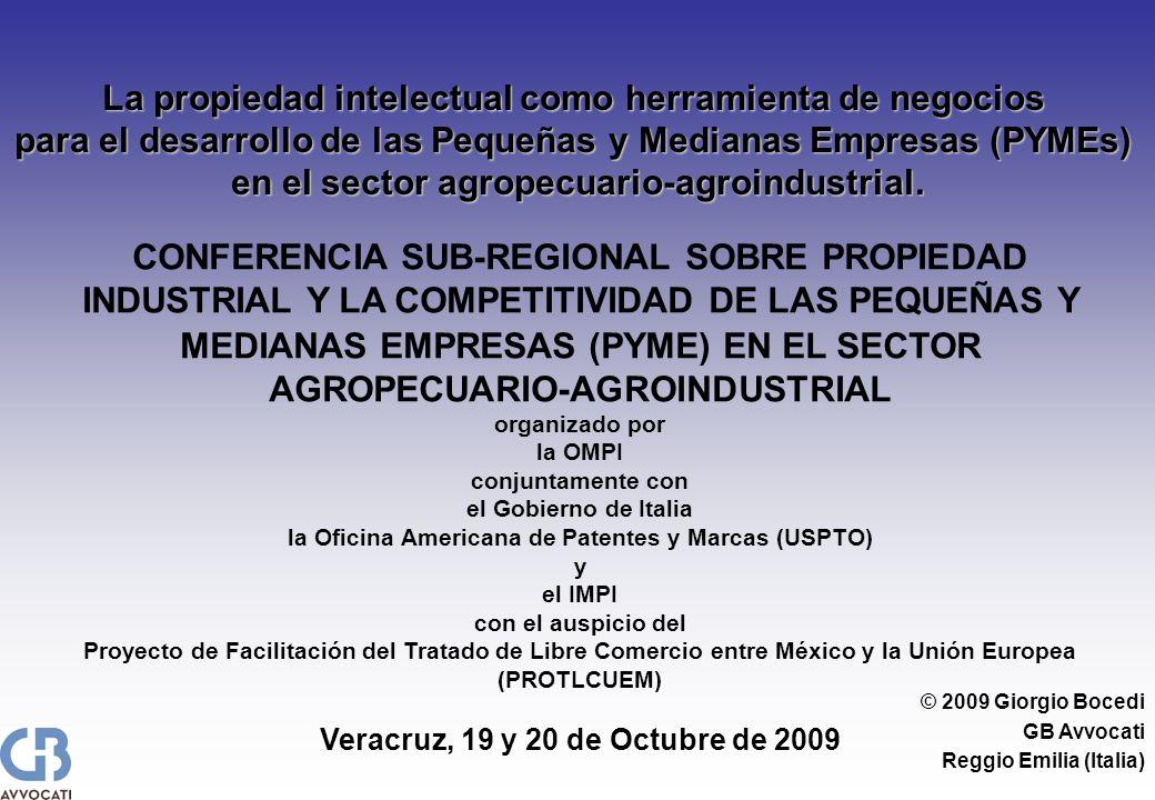 © 2009 Giorgio Bocedi GB Avvocati Reggio Emilia (Italia) La propiedad intelectual como herramienta de negocios para el desarrollo de las Pequeñas y Medianas Empresas (PYMEs) en el sector agropecuario-agroindustrial.