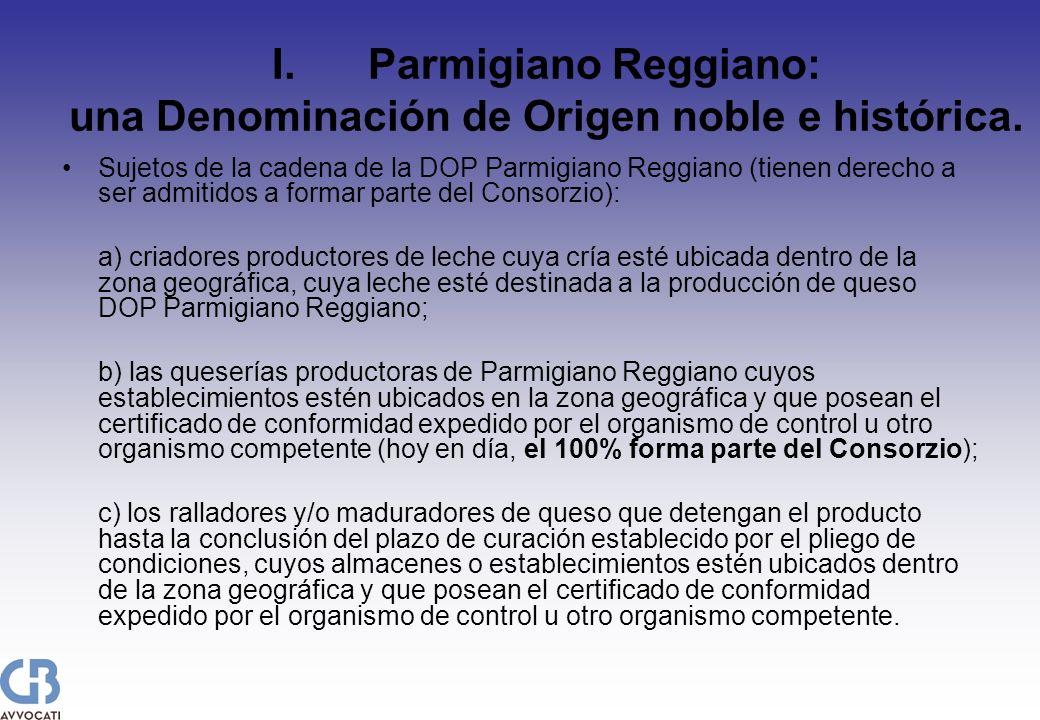 I.Parmigiano Reggiano: una Denominación de Origen noble e histórica. Sujetos de la cadena de la DOP Parmigiano Reggiano (tienen derecho a ser admitido