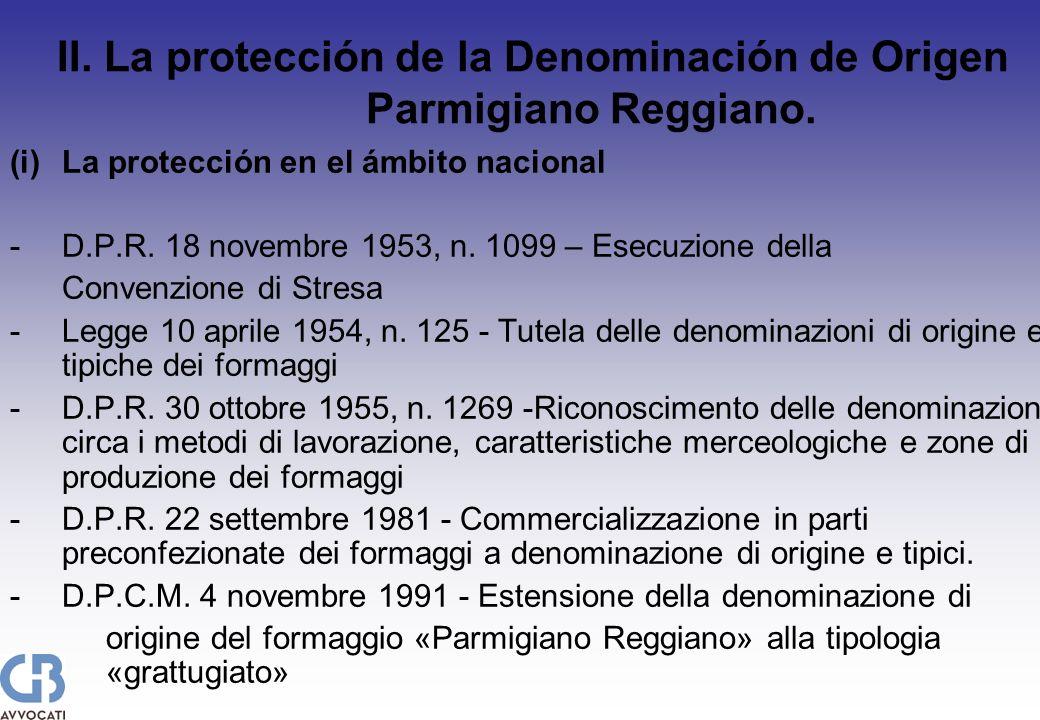 (i)La protección en el ámbito nacional -D.P.R. 18 novembre 1953, n.