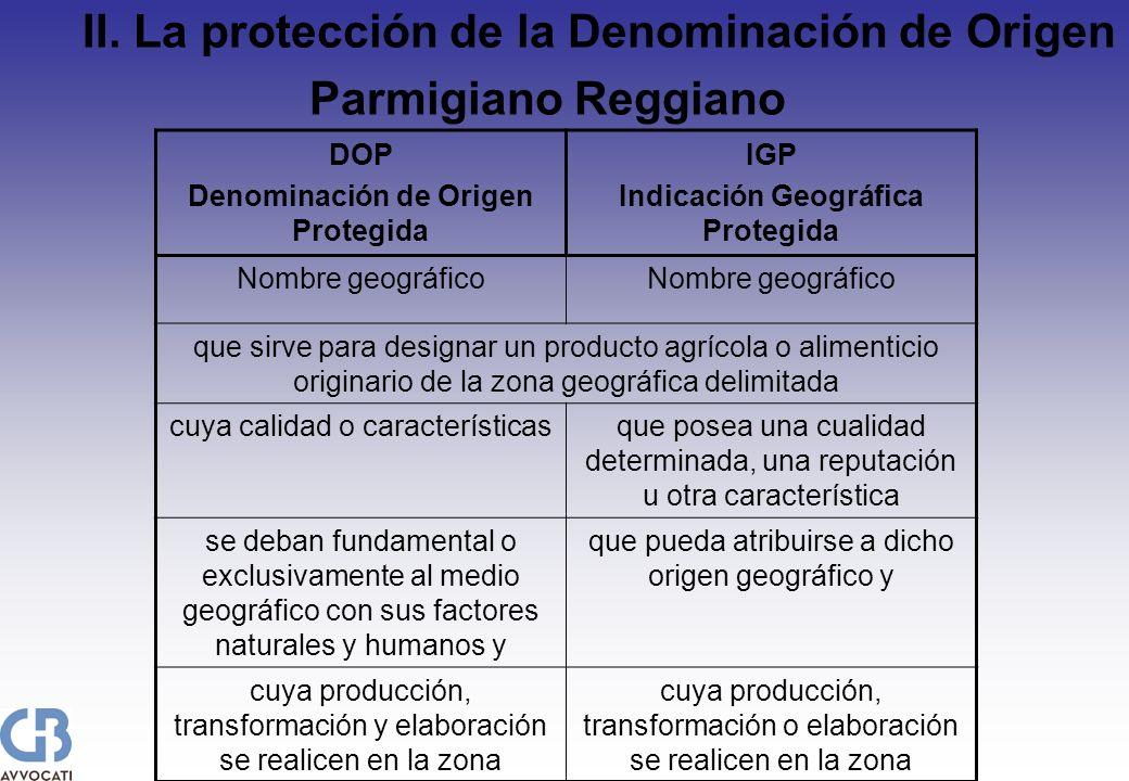 II. La protección de la Denominación de Origen Parmigiano Reggiano DOP Denominación de Origen Protegida IGP Indicación Geográfica Protegida Nombre geo