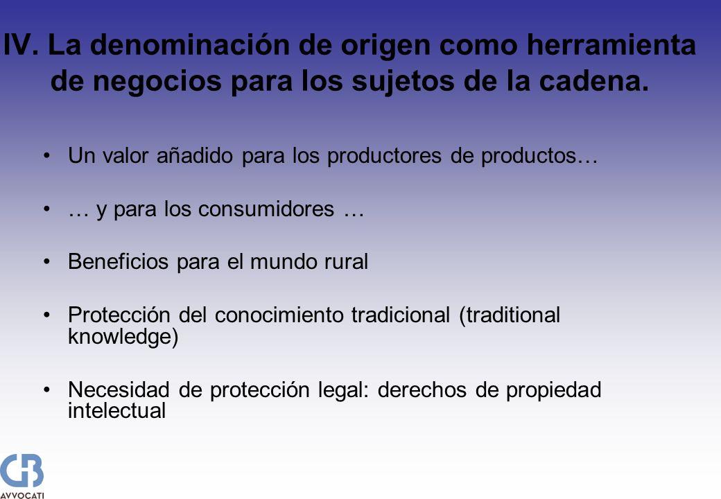 IV. La denominación de origen como herramienta de negocios para los sujetos de la cadena. Un valor añadido para los productores de productos… … y para