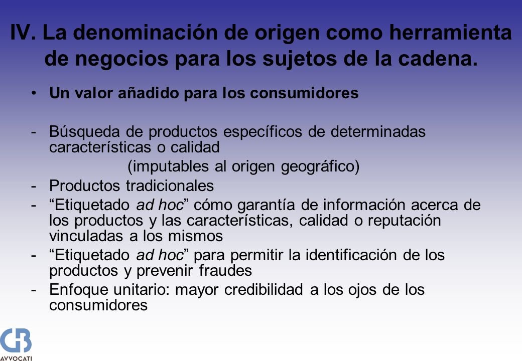 IV. La denominación de origen como herramienta de negocios para los sujetos de la cadena. Un valor añadido para los consumidores - Búsqueda de product