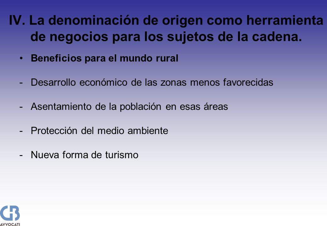 IV. La denominación de origen como herramienta de negocios para los sujetos de la cadena. Beneficios para el mundo rural -Desarrollo económico de las