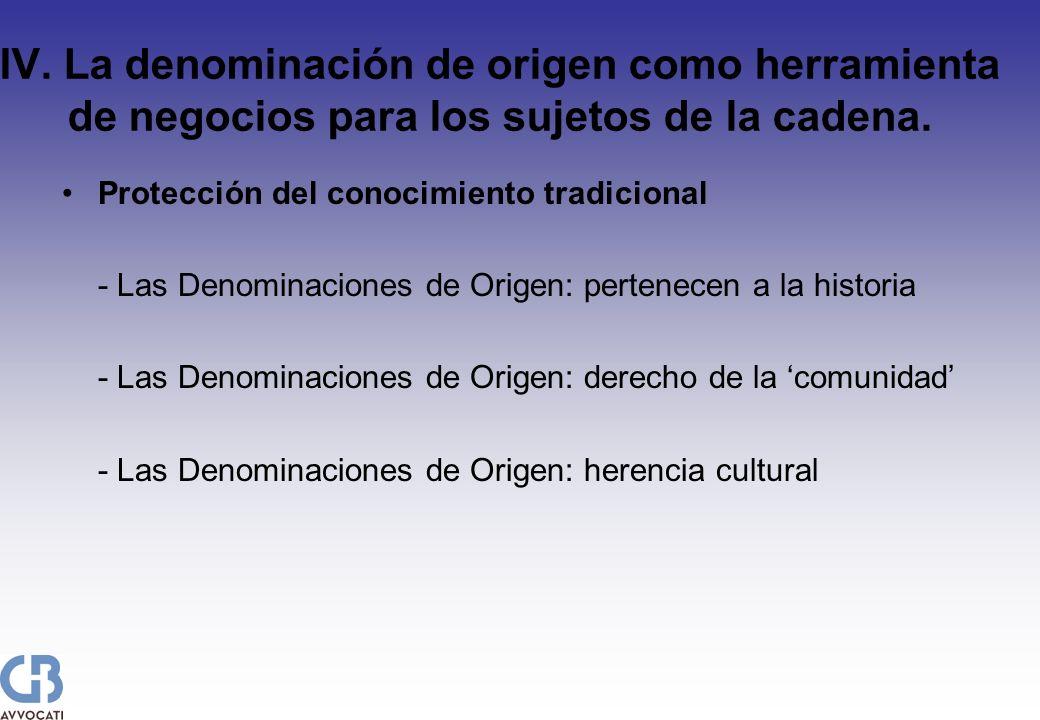 IV. La denominación de origen como herramienta de negocios para los sujetos de la cadena. Protección del conocimiento tradicional - Las Denominaciones