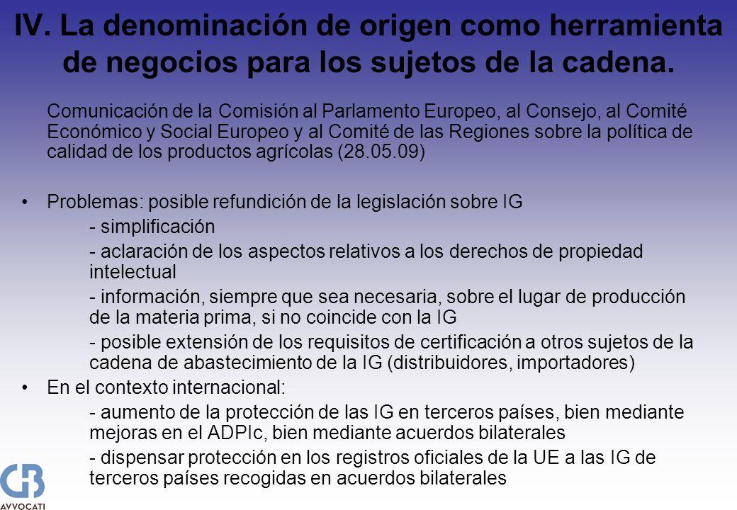 IV. La denominación de origen como herramienta de negocios para los sujetos de la cadena. Comunicación de la Comisión al Parlamento Europeo, al Consej