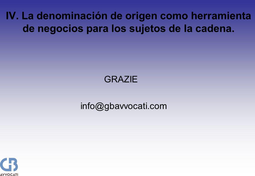 IV. La denominación de origen como herramienta de negocios para los sujetos de la cadena. GRAZIE info@gbavvocati.com