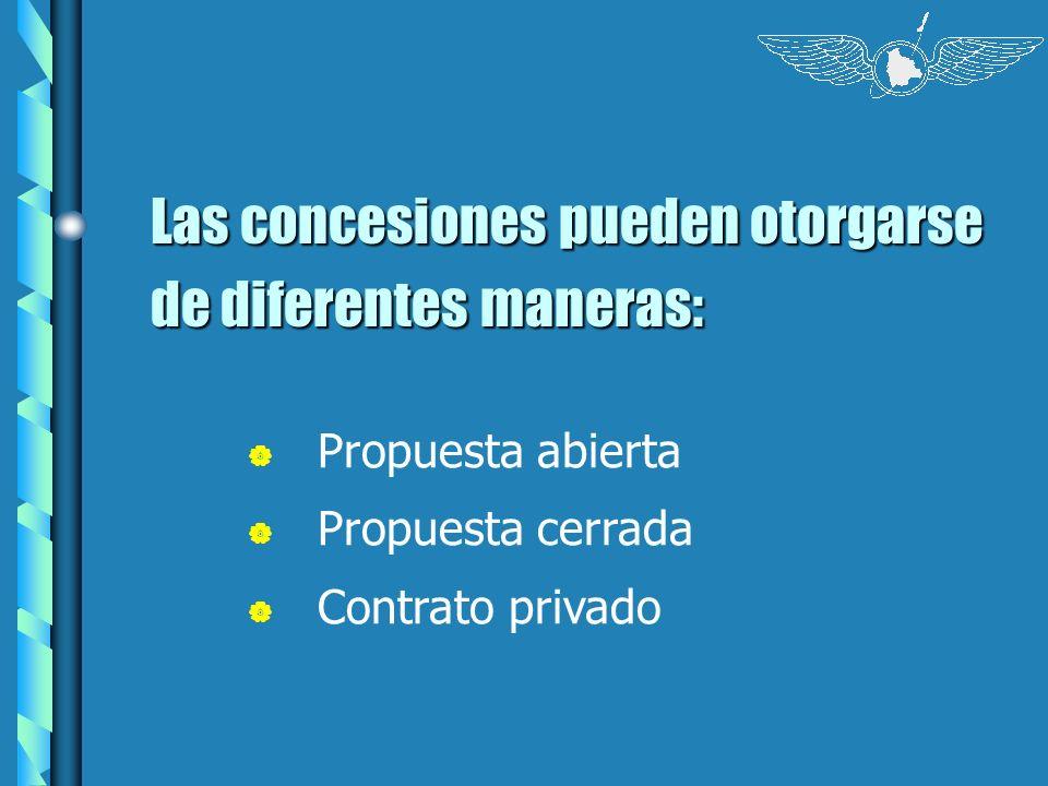 Las concesiones pueden otorgarse de diferentes maneras: Propuesta abierta Propuesta cerrada Contrato privado