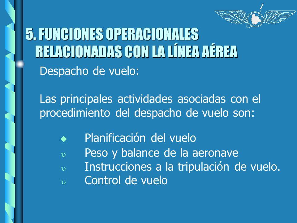 5. FUNCIONES OPERACIONALES RELACIONADAS CON LA LÍNEA AÉREA Despacho de vuelo: Las principales actividades asociadas con el procedimiento del despacho