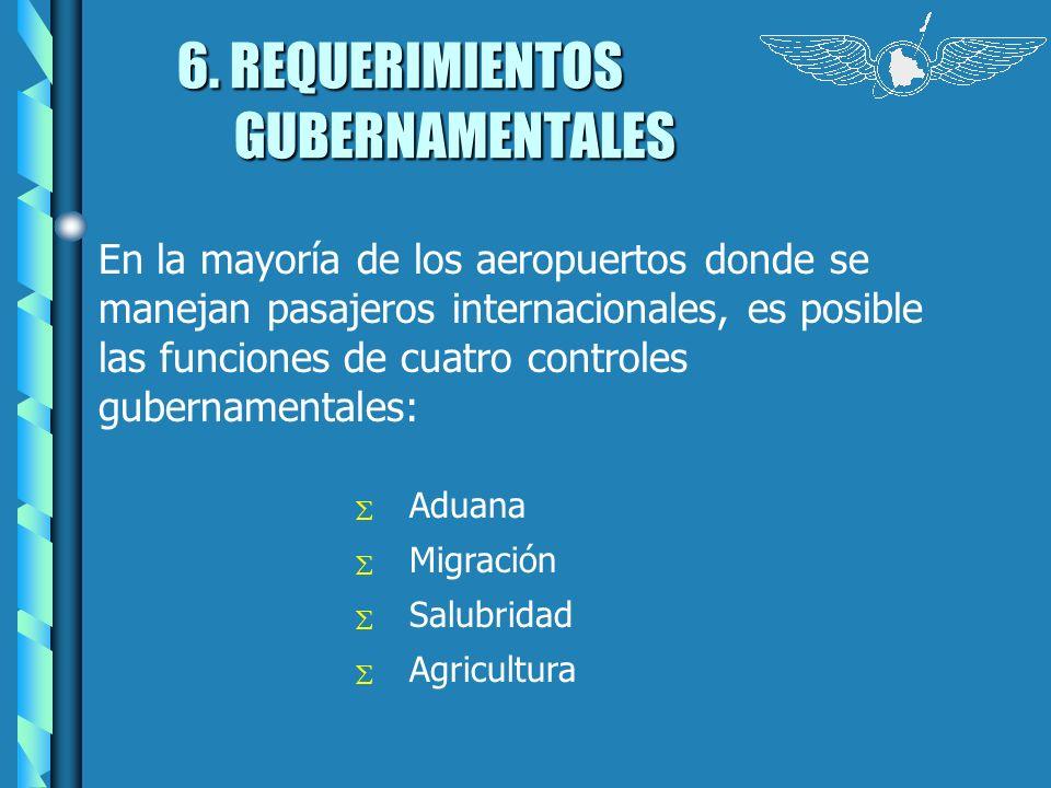 6. REQUERIMIENTOS GUBERNAMENTALES En la mayoría de los aeropuertos donde se manejan pasajeros internacionales, es posible las funciones de cuatro cont