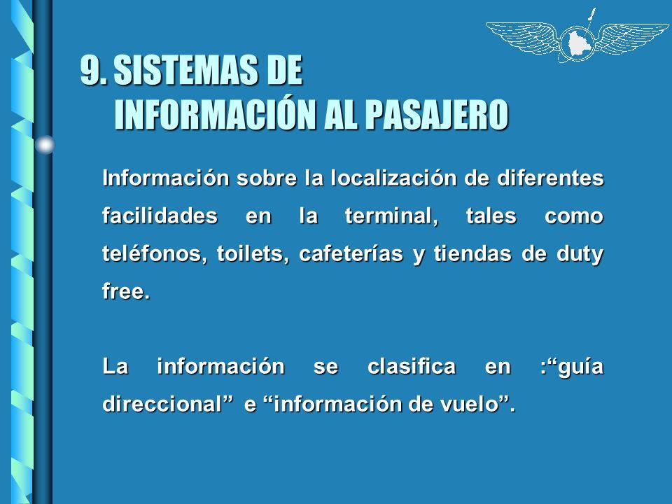 9. SISTEMAS DE INFORMACIÓN AL PASAJERO Información sobre la localización de diferentes facilidades en la terminal, tales como teléfonos, toilets, cafe