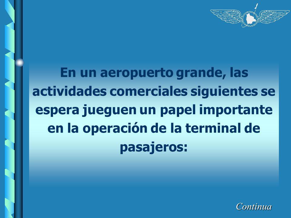 Continua En un aeropuerto grande, las actividades comerciales siguientes se espera jueguen un papel importante en la operación de la terminal de pasaj