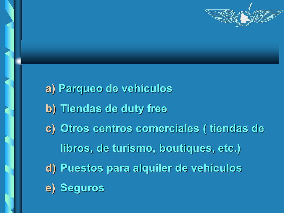 a) Parqueo de vehículos b)Tiendas de duty free c)Otros centros comerciales ( tiendas de libros, de turismo, boutiques, etc.) d)Puestos para alquiler d