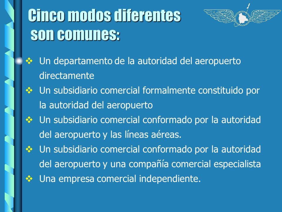 Cinco modos diferentes son comunes: son comunes: Un departamento de la autoridad del aeropuerto directamente Un subsidiario comercial formalmente cons