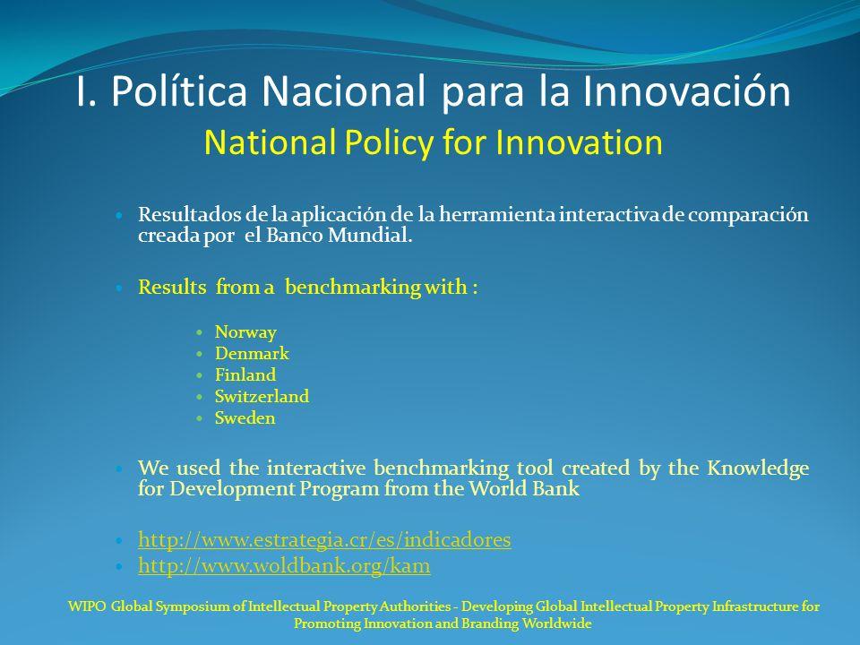 I. Política Nacional para la Innovación National Policy for Innovation Resultados de la aplicación de la herramienta interactiva de comparación creada