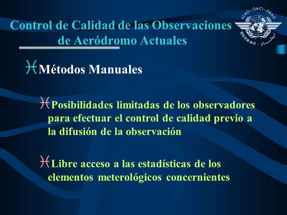 Control de Calidad de las Observaciones de Aeródromo Actuales i Métodos Manuales i Posibilidades limitadas de los observadores para efectuar el contro