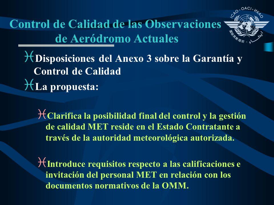 Control de Calidad de las Observaciones de Aeródromo Actuales i Disposiciones del Anexo 3 sobre la Garantía y Control de Calidad i La propuesta: i Cla