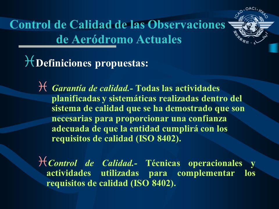 Control de Calidad de las Observaciones de Aeródromo Actuales i Definiciones propuestas: i Garantía de calidad.- Todas las actividades planificadas y