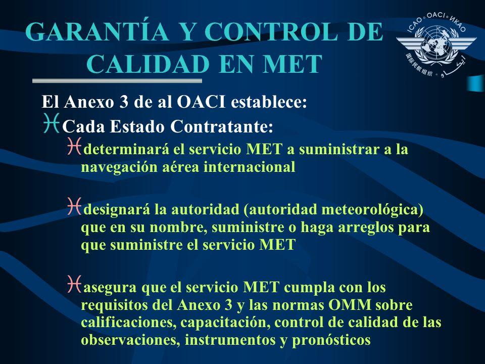 GARANTÍA Y CONTROL DE CALIDAD EN MET El Anexo 3 de al OACI establece: i Cada Estado Contratante: i determinará el servicio MET a suministrar a la nave