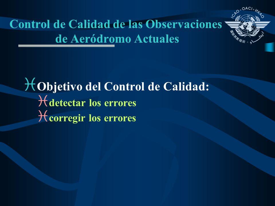 Control de Calidad de las Observaciones de Aeródromo Actuales i Objetivo del Control de Calidad: i detectar los errores i corregir los errores